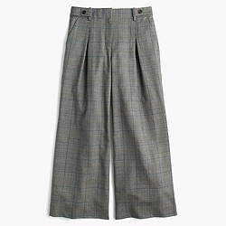 Pleated cropped wide-leg pant in glen plaid