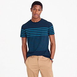 Textured cotton T-shirt in nautical engineered stripe