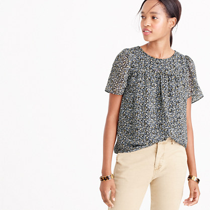 Metallic chiffon top in ditsy floral print