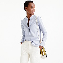 Striped popover shirt with contrast piping