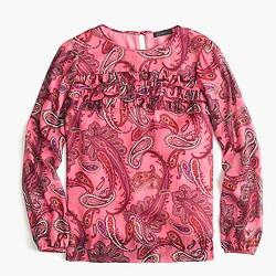 Ruffle-front chiffon top in vibrant paisley