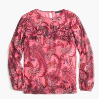 Petite ruffle-front chiffon top in vibrant paisley