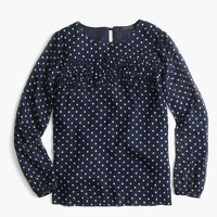 Ruffle-front chiffon top in polka dot