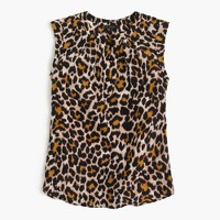 Cuffed-sleeve top in leopard print
