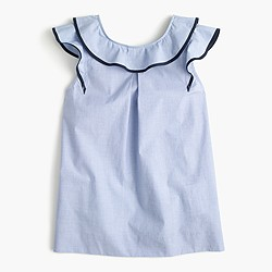 Ruffle top in end-on-end cotton