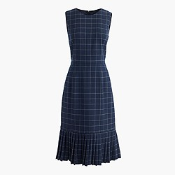 Pleated windowpane dress
