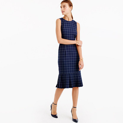 Tall pleated windowpane dress