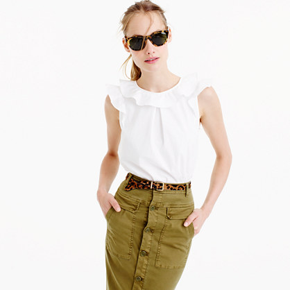 Petite ruffle top in cotton poplin