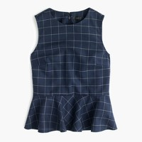 Peplum top in windowpane print