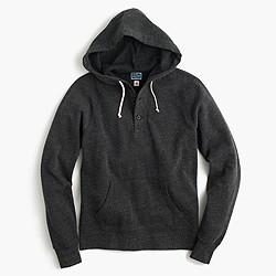 Brushed fleece henley hoodie