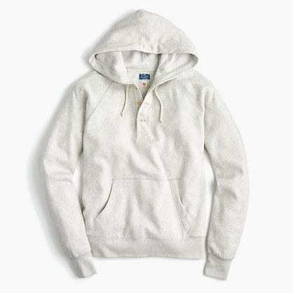 Tall brushed fleece henley hoodie