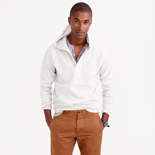 Tall brushed fleece henley hoodie