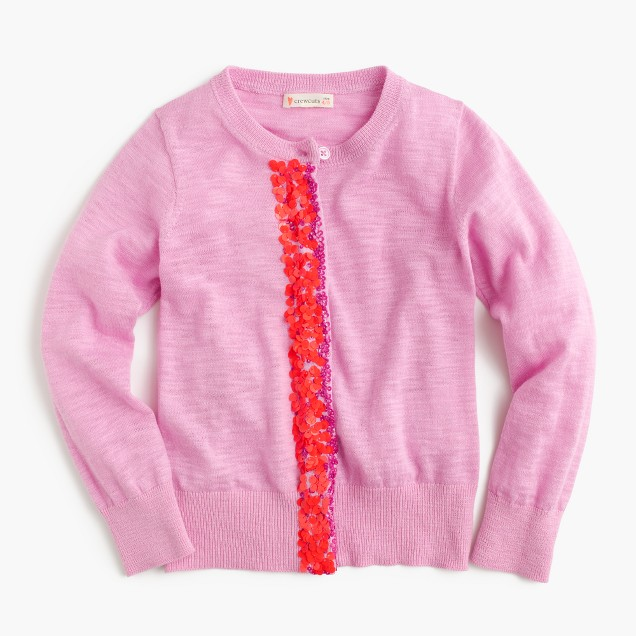Girls' sequin-placket cardigan