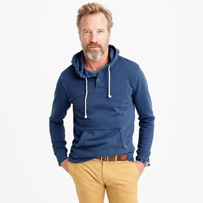 Garment-dyed fleece henley hoodie