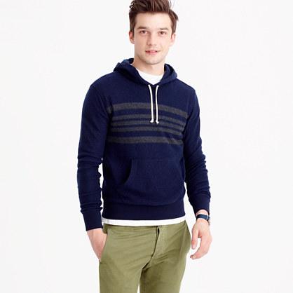 Engineered-stripe brushed fleece hoodie