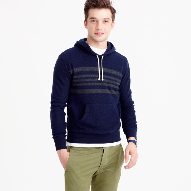 Engineered-stripe brushed fleece hoodie