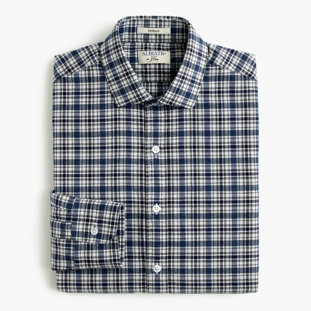 Albiate 1830 for J.Crew Ludlow shirt in blue check