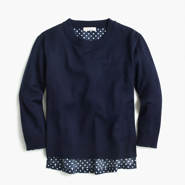 Girls merino wool popover sweater