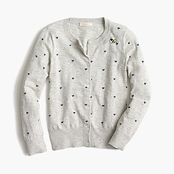 Girls' Caroline cardigan sweater with hearts and bees