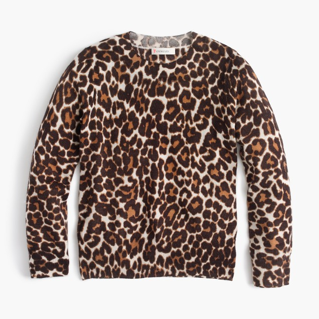 Girls' leopard-print popover sweater