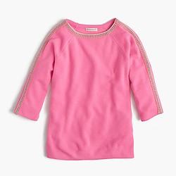 Girls' sparkle-trim popver sweater