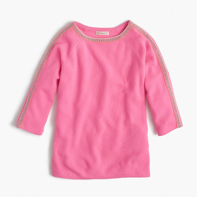 Girls' sparkle-trim popver sweater