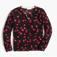Girls' Caroline cardigan sweater in cherry print