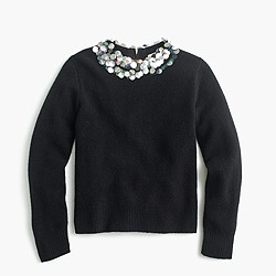 Girls' wool popover sweater with embellished collar