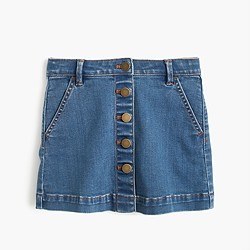 Girls' button-front denim mini skirt