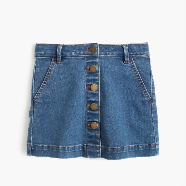 Girls' button-front denim mini skirt