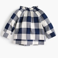 Girls' buffalo plaid ruffle-neck top