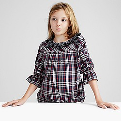 Pre-order Girls' pom-pom top in navy-red tartan