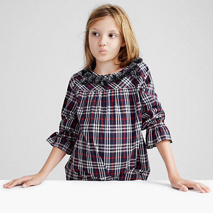 Pre-order Girls' pom-pom top in navy-red tartan