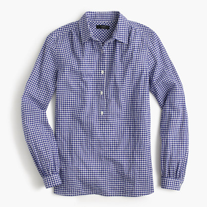 Petite gathered popover shirt in two-tone gingham