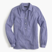 Gathered popover shirt in two-tone gingham