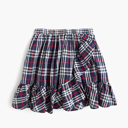 Girls' pull-on ruffle-hem skirt in navy-red tartan