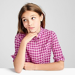 Girls' crinkle gingham shirt
