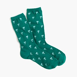 Trouser socks in palm tree print