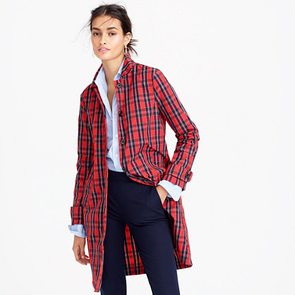 Collection red plaid trench coat in nylon