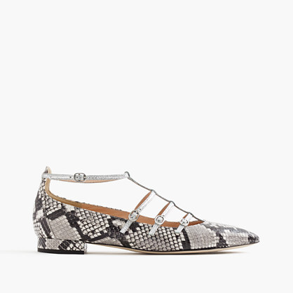 Caged flats in snakeskin-printed leather