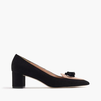 Avery heels in colorblock suede