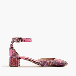 Paisley printed leather heels