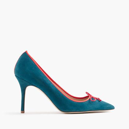 Elsie suede pumps with contrast trim
