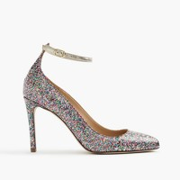 Coated glitter pumps with ankle strap