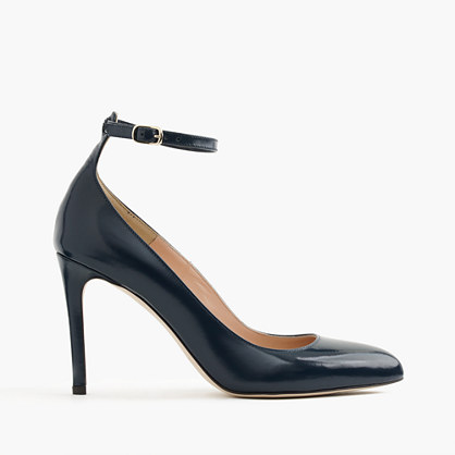 Glossy leather pumps with ankle strap