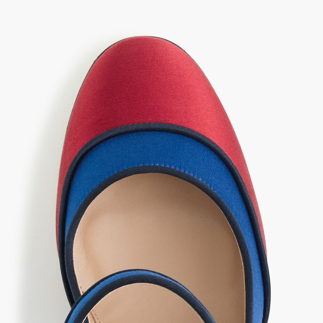 Mary Jane pumps in colorblock satin