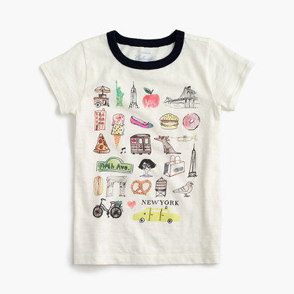 "Girls' ""New York"" destination art T-shirt"