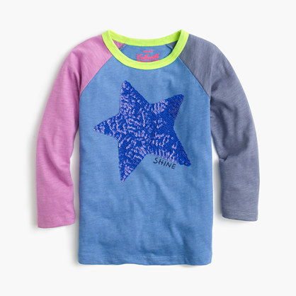 Girls' colorblock sequin baseball T-shirt