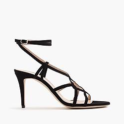 Suede cross-strap sandals