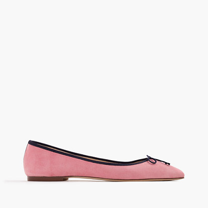 Gemma suede flats with contrast trim